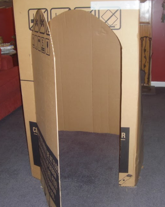 A box becoming a toy with the door cut out