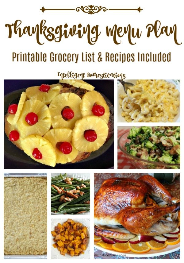 Printable Thanksgiving Menu complete with Recipes and Grocery list for Ingredients. #Thanksgivingmenu