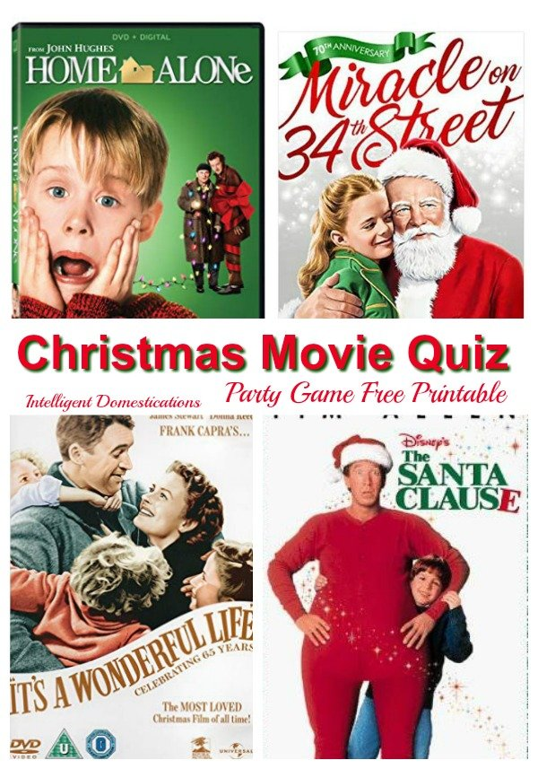 Christmas Party Games. Christmas Movie Quiz party game free printable questions and answers. Classic Christmas movies party game #Christmas #partygames