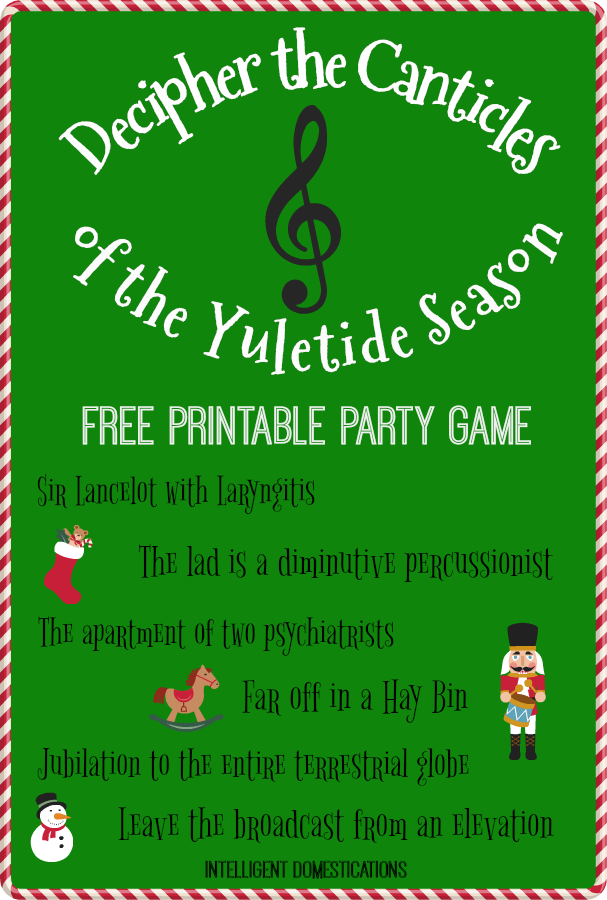 How well do you know your Christmas songs and movies? The competition team game is a Christmas party classic. Decipher The Canticles of the Yuletide Season Party Game free printable. #Christmas #partygames #familyfriendlygames #printable #christmasparty