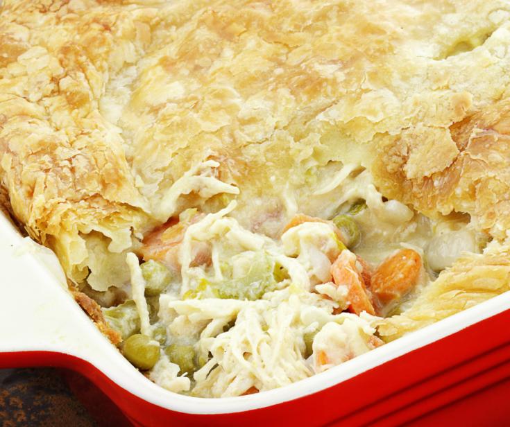 Turkey Pot Pie in a red casserole dish
