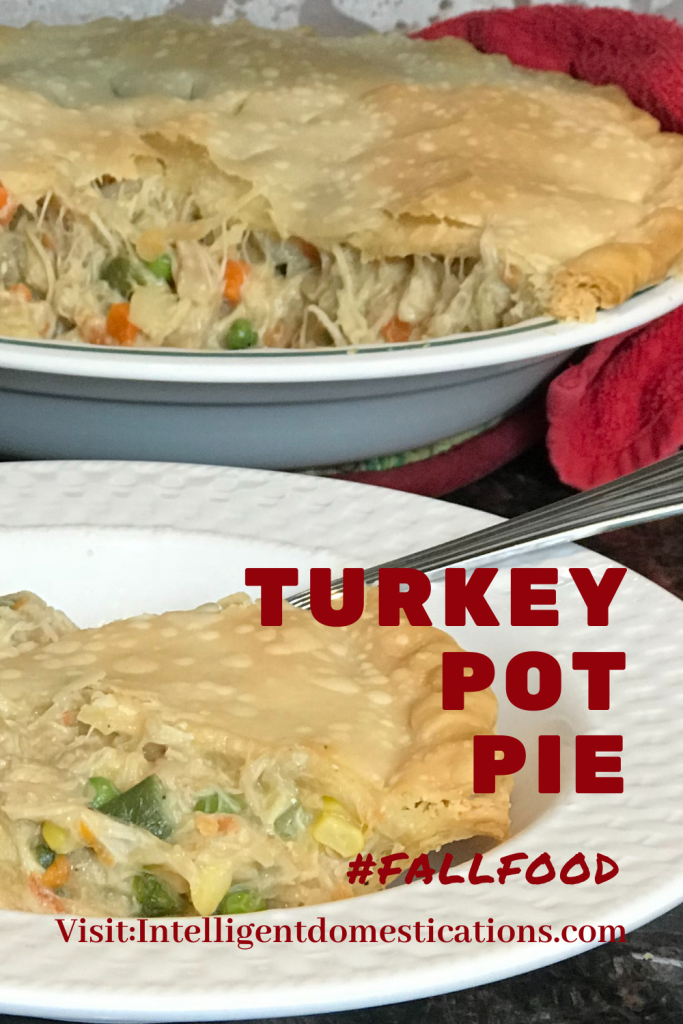 Turkey Pot pie in a pie plate with one section removed which is displayed in a white bowl
