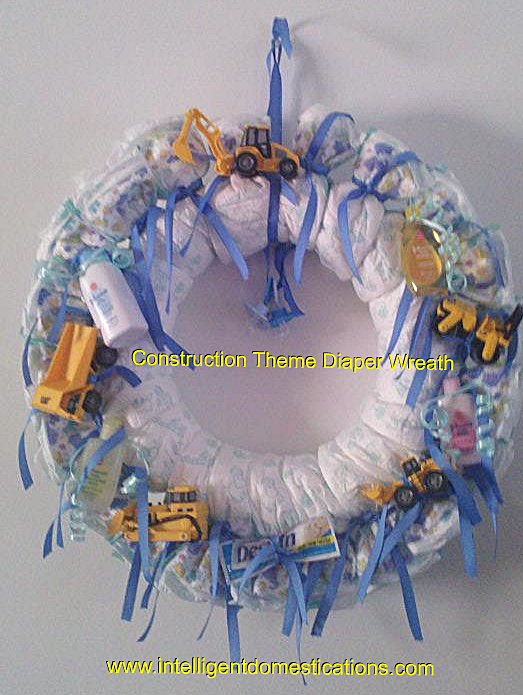 Mini Construction Toys Adorn this Diaper Wreath