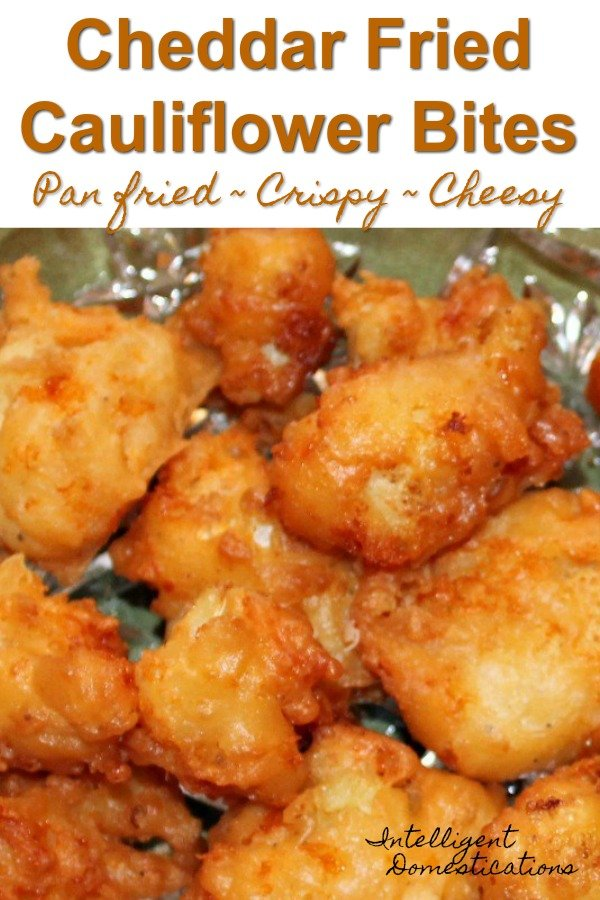Easy recipe for pan fried cheesy cauliflower bites. #cauliflower