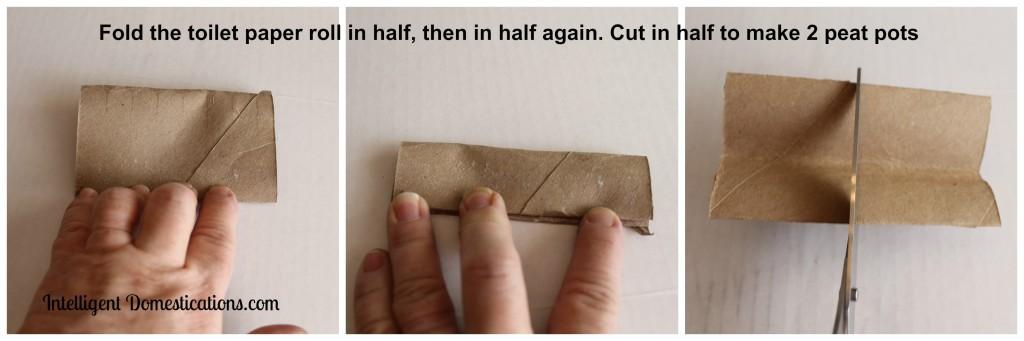 Faux toilet paper roll peat pot folded and cut Intelligentdomestications.com