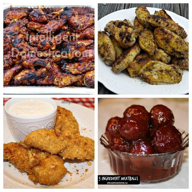Superbowl Party Food Menu with recipes including Meats, Sides and Dessert ideas. Game Day Menu. #gameday #partyfood