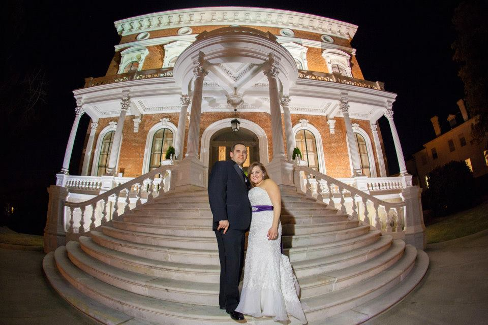 Tiffany & Andy on steps of Hay House after the wedding