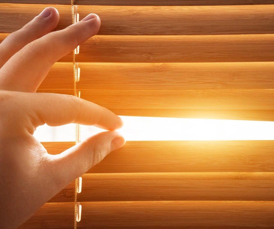 Sunlight coming inside through window blinds
