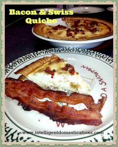 Bacon & Swiss Quiche served with bacon by intelligentdomestications.com