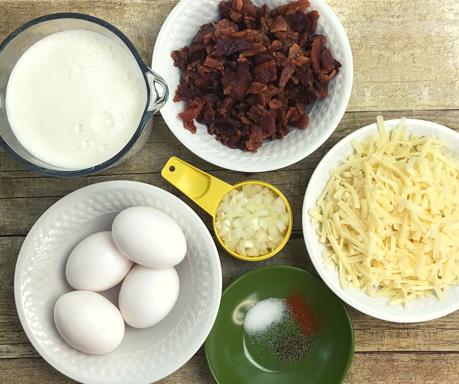 Ingredients for Bacon and Swiss Quiche