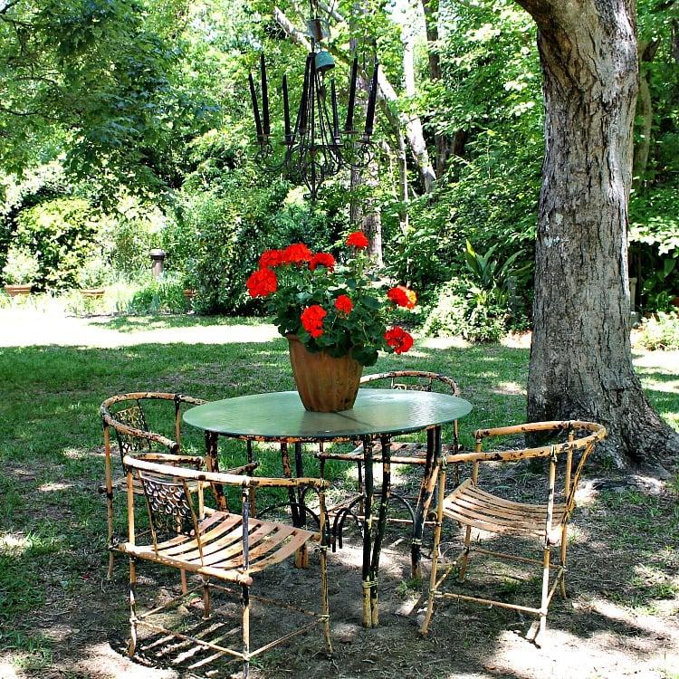 An outdoor chandelier. Secret Southern Garden Stroll Macon, Ga.