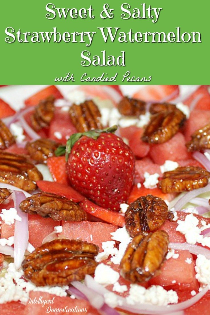 Sweet and Salty Strawberry Watermelon Salad recipe. How to make a watermelon salad. #watermelon
