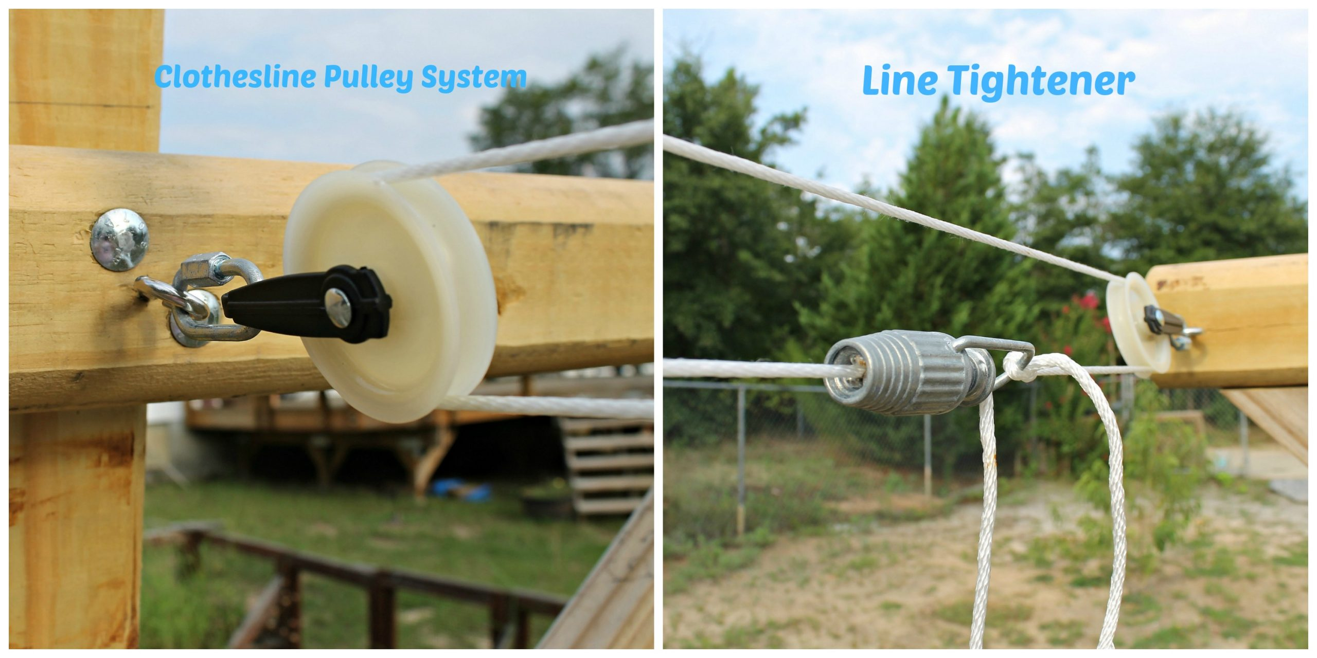 How To Build A Clothesline with a pulley system. This DIY Outdoor Clothesline was an afternoon project. Instructions including tools and supplies included in this tutorial. #clothesline #homesteading