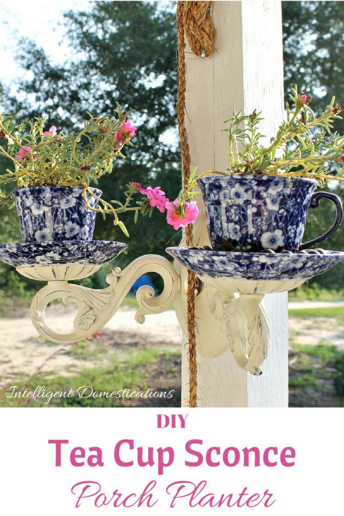 Making this gorgeous Tea Cup Sconce Planter for our front porch was an easy project. It added a unique flower pot piece to our porch decor. #diy #teacupplanter #porchdecor