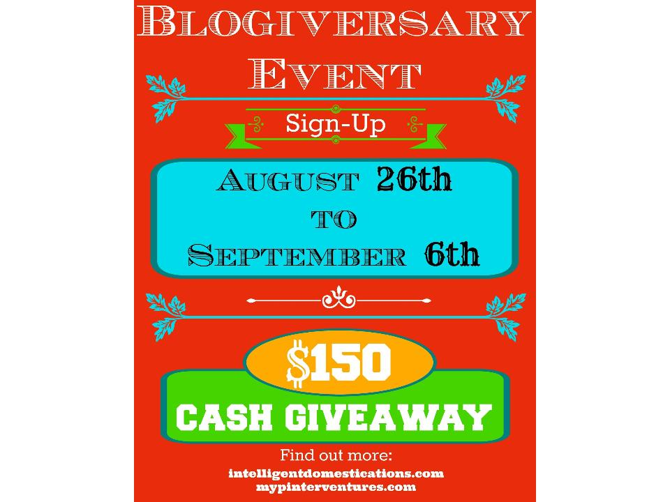Blogiversary Giveaway Blogger Opp.intelligentdomestications and mypinterventures