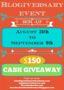 Blogiversary Cash & Prizes Giveaway Blogger Opp