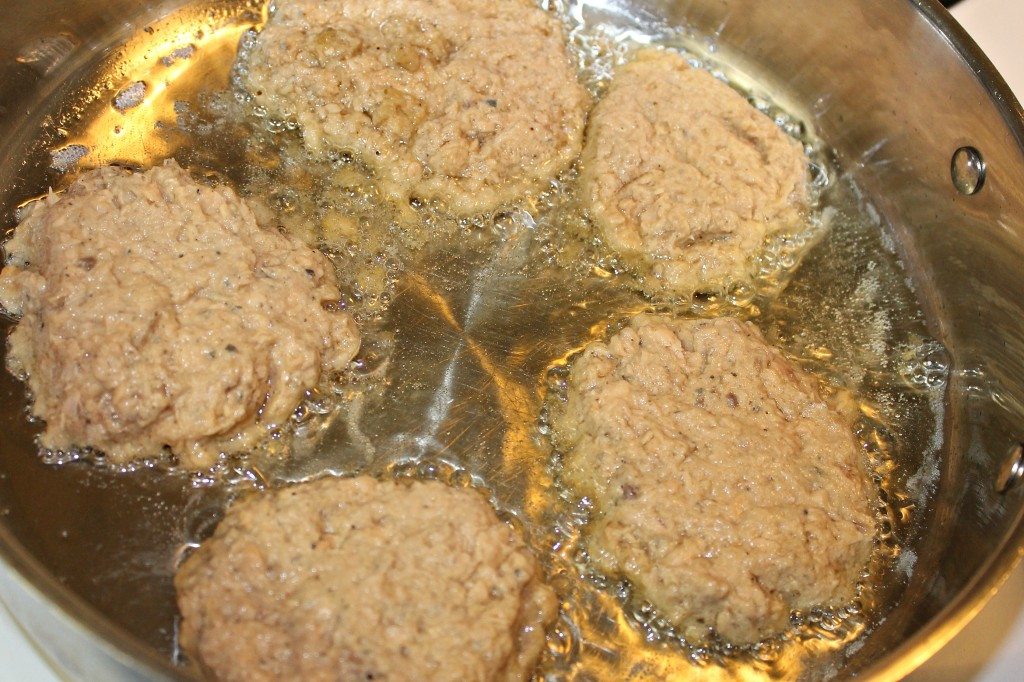 Fry your salmon patties in shallow vegetable oil.intelligentdomestications.com