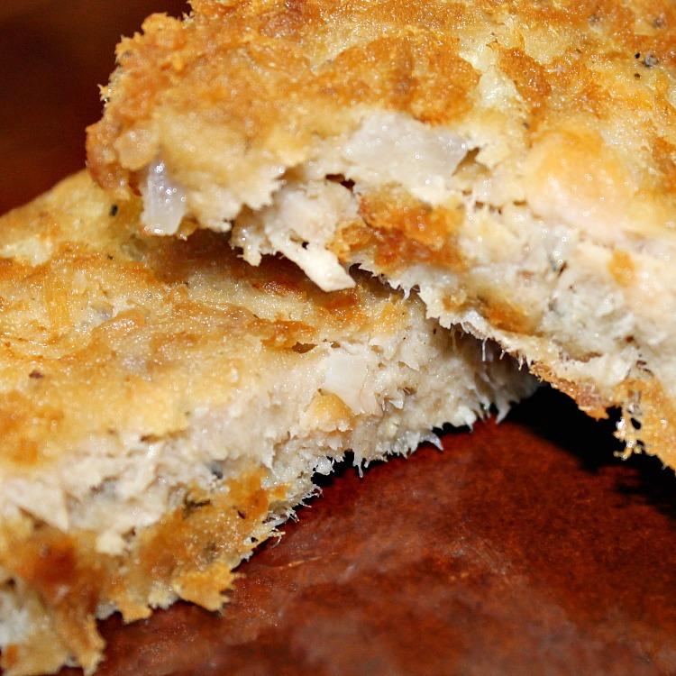 Thin and crispy fried salmon patties