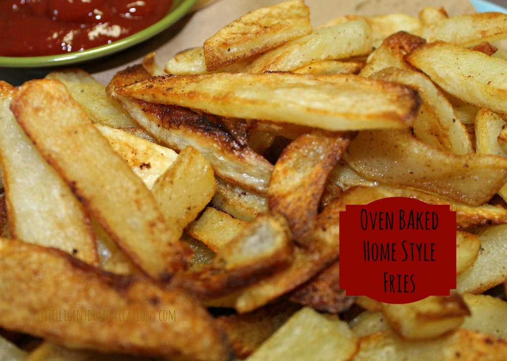 Oven Baked Homestyle Fries Served with Ketchup. Baked Homestyle Fries easy recipe. How to bake cut potatoes so them come out like deep fried french fries. Baked French Fries easy recipe. #bakedfries #potatorecipe #sidedish