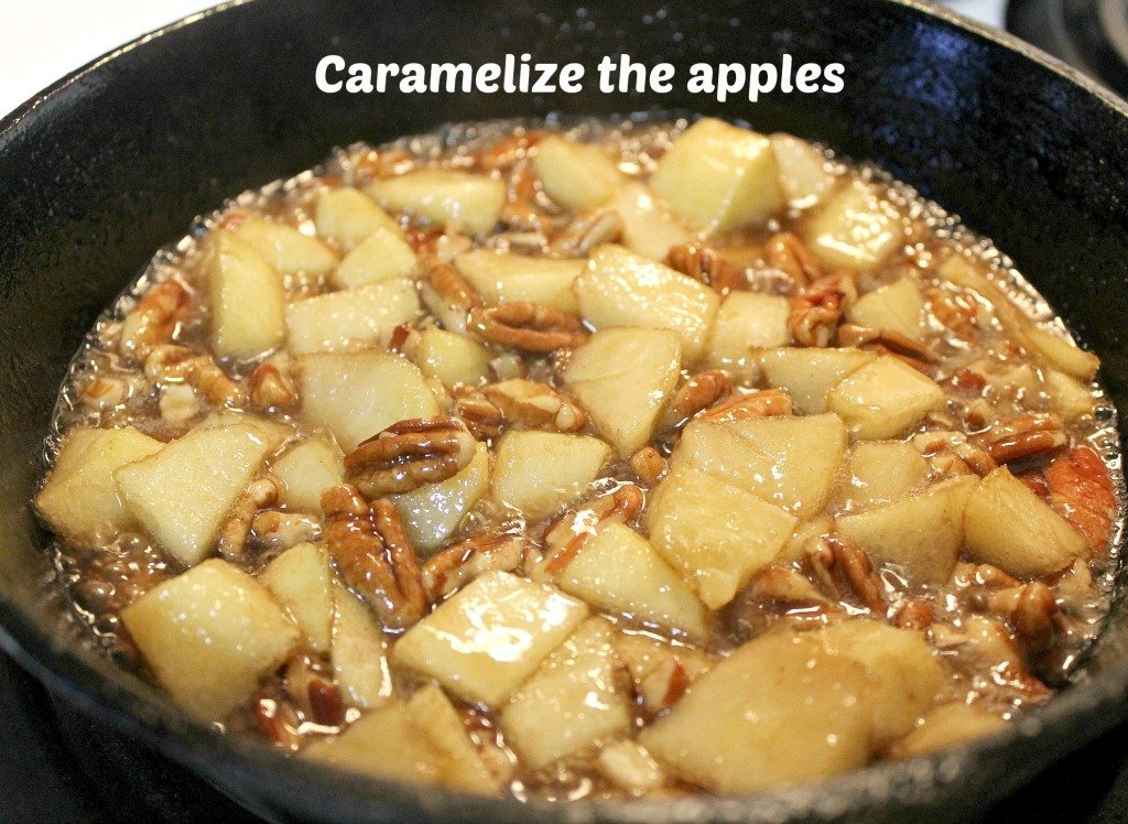 Place the Butter, Brown sugar, apples and pecans in the iron skillet and cook on medium high until caramelized.intelligentdomestications.com
