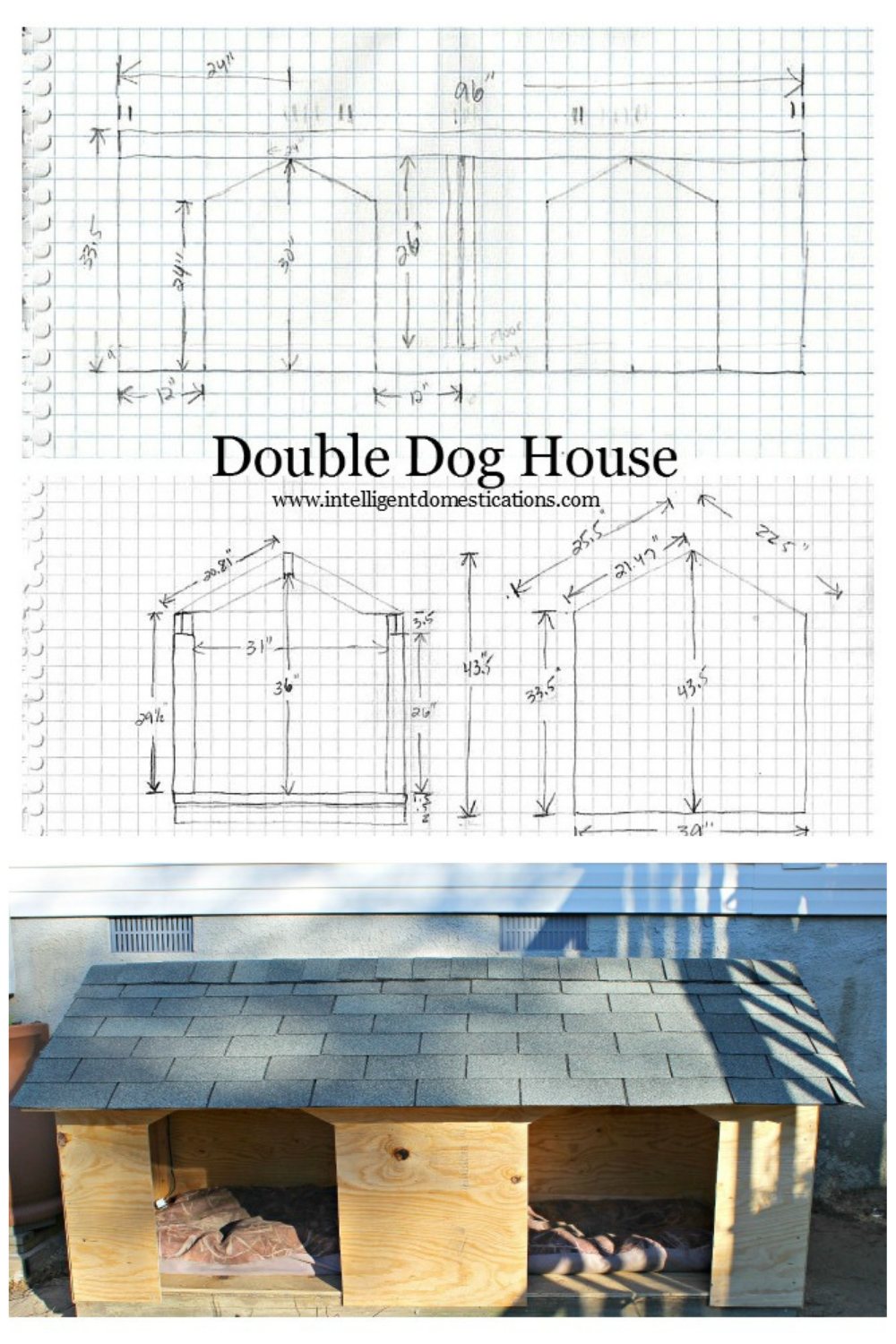 Double door Dog House plans sketch and a picture of the dog house