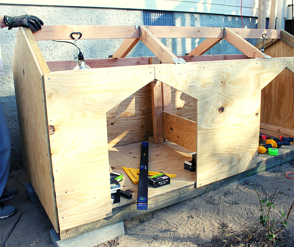 A front view of a Double Dog House being built