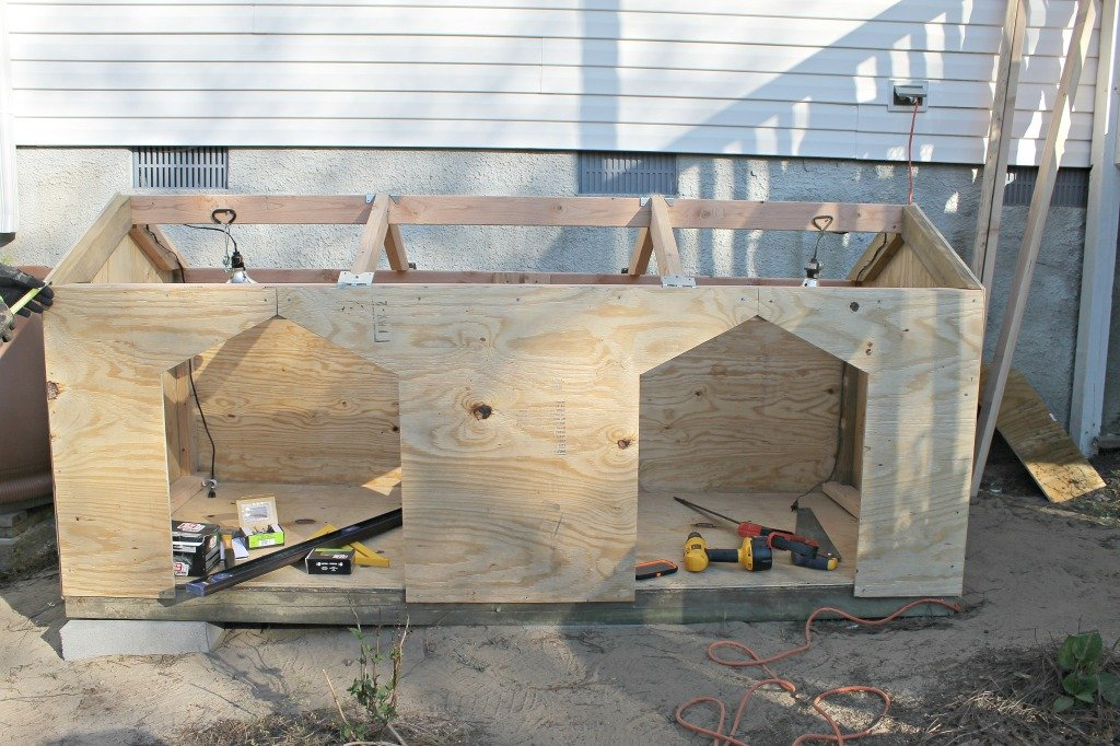 DIY Dog house being built