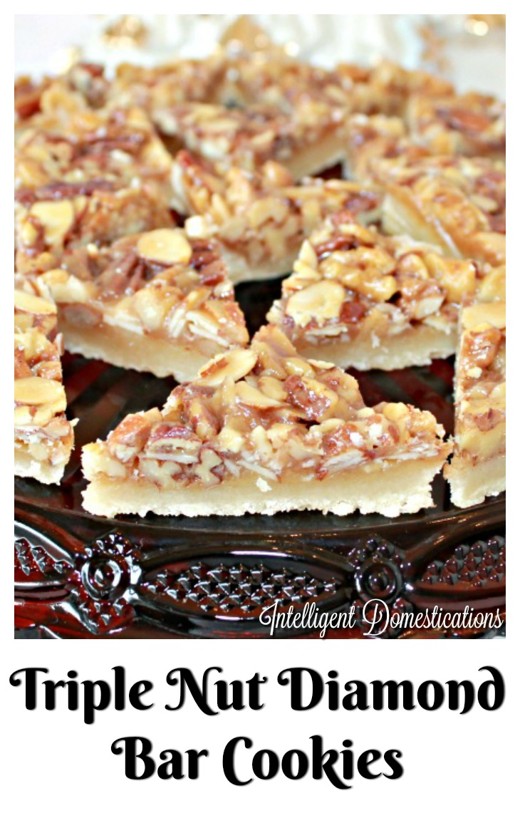Triple Nut Diamond Bars are made with only 7 ingredients of deliciousness. Bar cookie recipe with nuts. Brunch dessert idea. Christmas cookie recipe