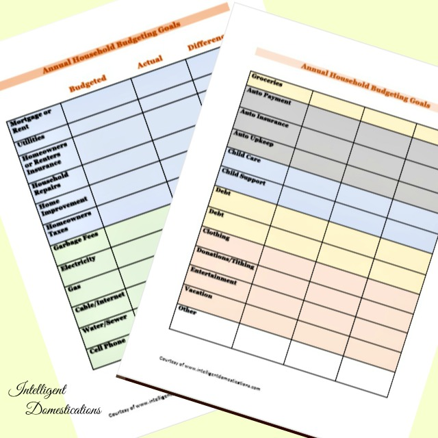 Annual Household Budget Planning Worksheet free printable. #budgeting #financialplanning