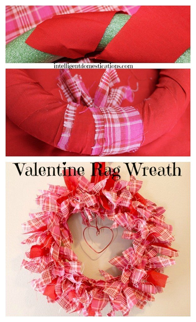 How to make a rag wreath. DIY Valentine's Day Rag Wreath. Rag Wreath tutorial. Valentine's Wreath idea