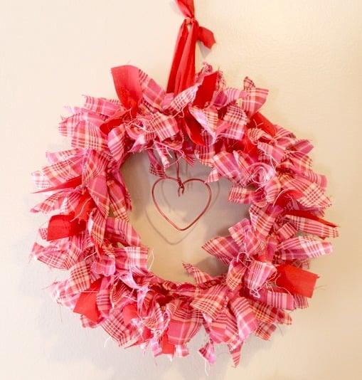 Shabby chic Valentine plaid Rag Wreath.intelligentdomestications.com