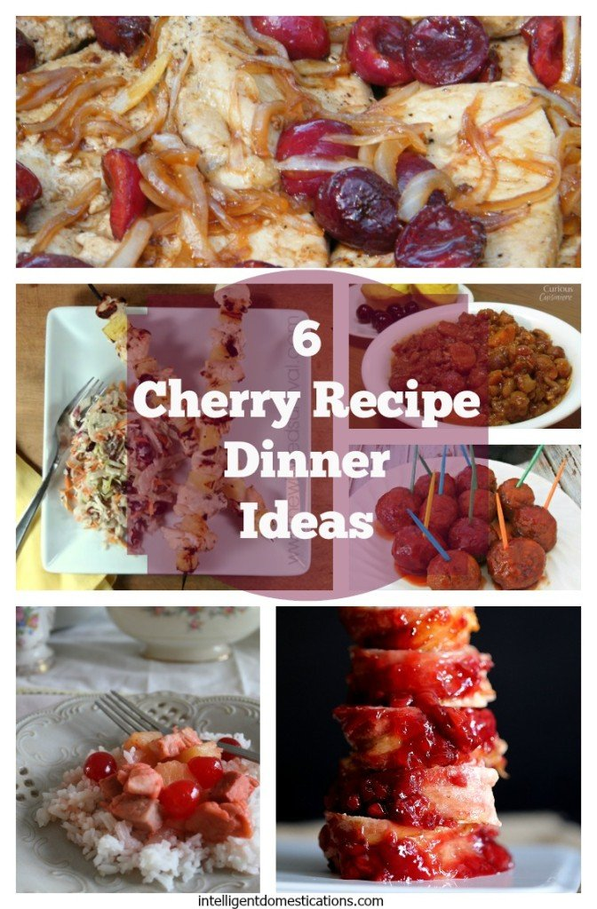 Entree recipes pictured with cherries as a main ingredient. Showcased on white plates.