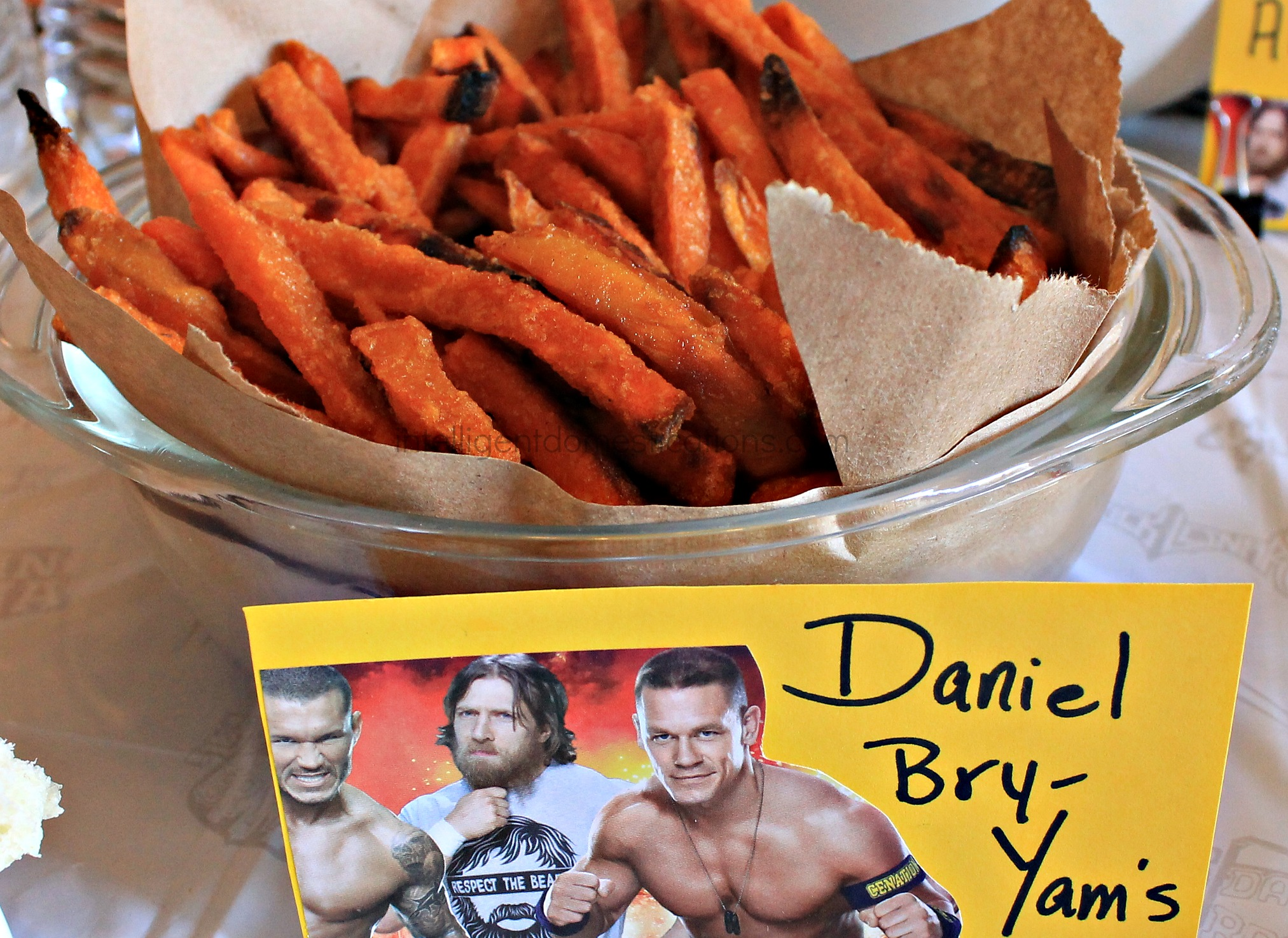 Serve your guests some Daniel Bry-Yams at your WWE Theme party.WWE Theme Party Ideas with recipes and decor. WWE Party.