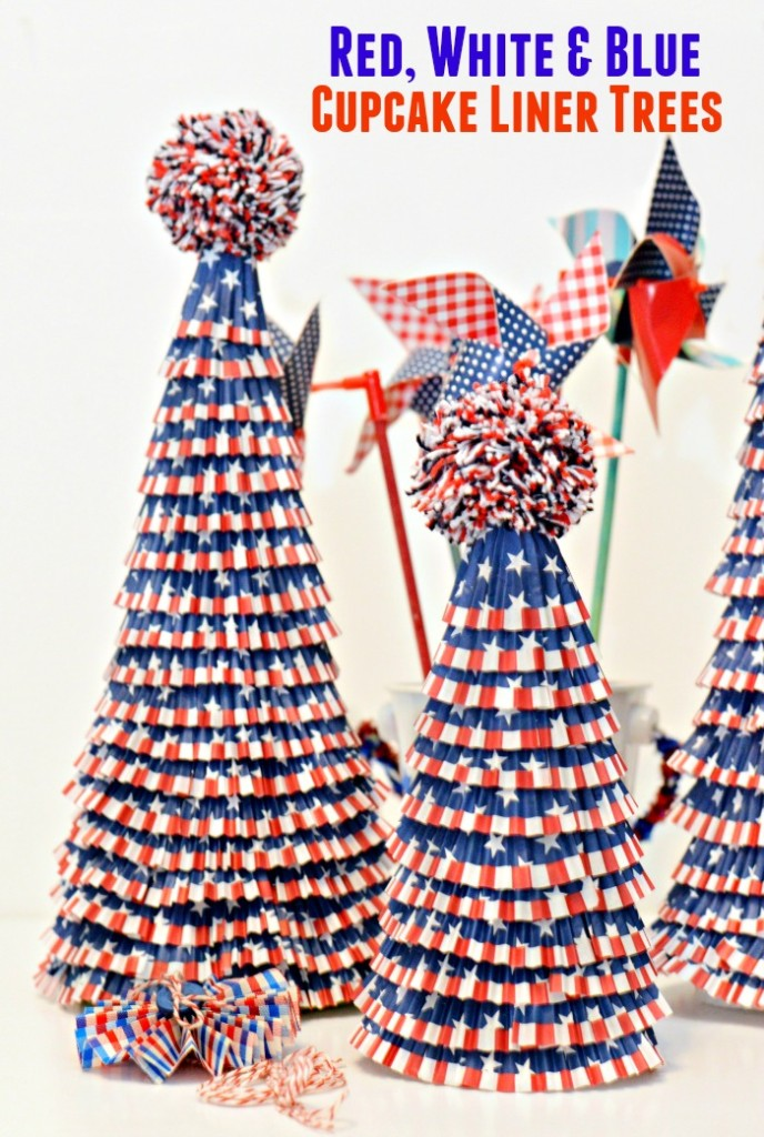 Red, White & Blue Cupcake liner trees