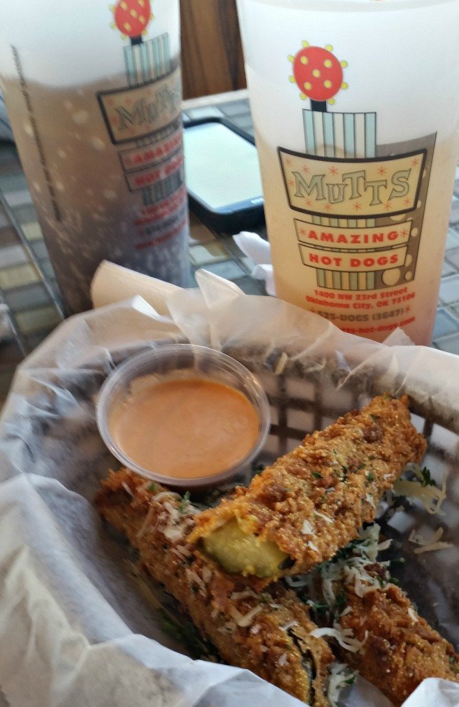 Fried Pickle Spears at Mutts Amazing HotDogs in OKC on the #hotdogtour.www.intelligentdomestications.com