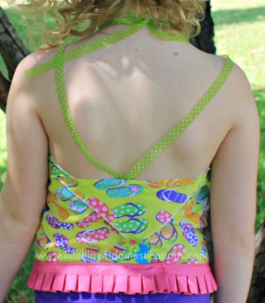 Back of Little girls Summer Bandana top DIY.www.intelligentdomestications.com