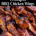 Make these BBQ Wings in the Crockpot with only 3 ingredients. We serve them for parties, game day and 4th of July. They go in the Crockpot frozen, no need to thaw. #bbq #intellid