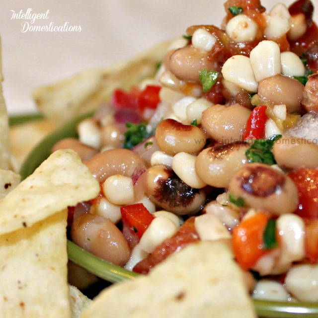 Easy recipe for a delicious veggie dip. Blackeyed Pea Salsa also known as Cowboy Caviar or Texas Caviar. Dip with chips or serve with Cornbread as a salad. #salsa #veggiedip #partyfood