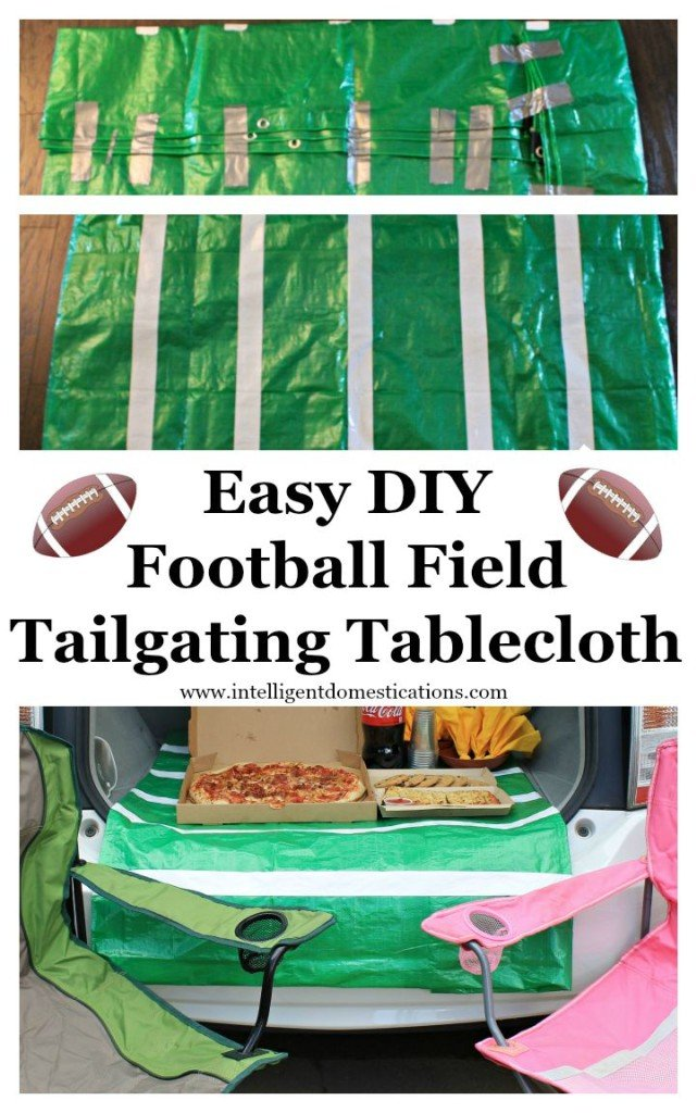 How To Make A Football Tablecloth from a tarp. Tailgating Tips. Easy tips to make your football tailgating more relaxing and fun. #football #tailgating