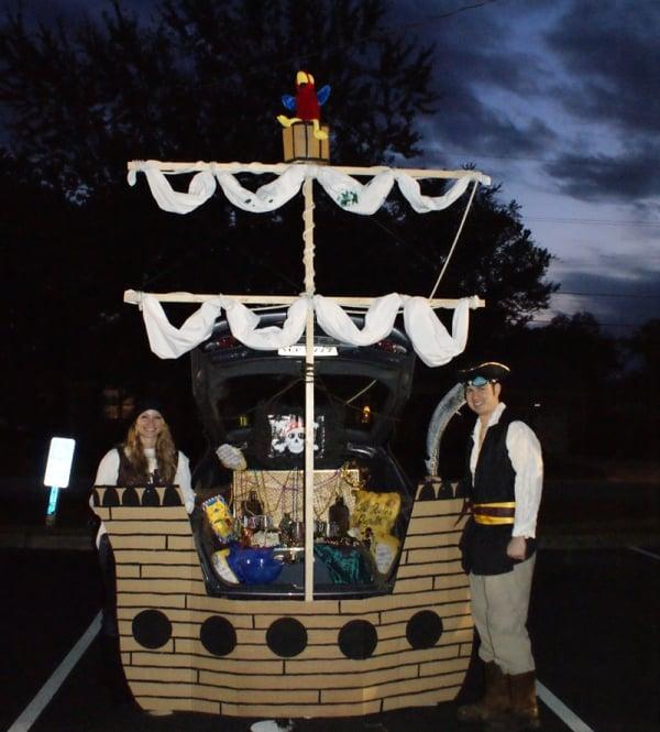 Pirate Ship Trunk or Treat design. 21 Clever Trunk or Treat Ideas. Trunk or Treat