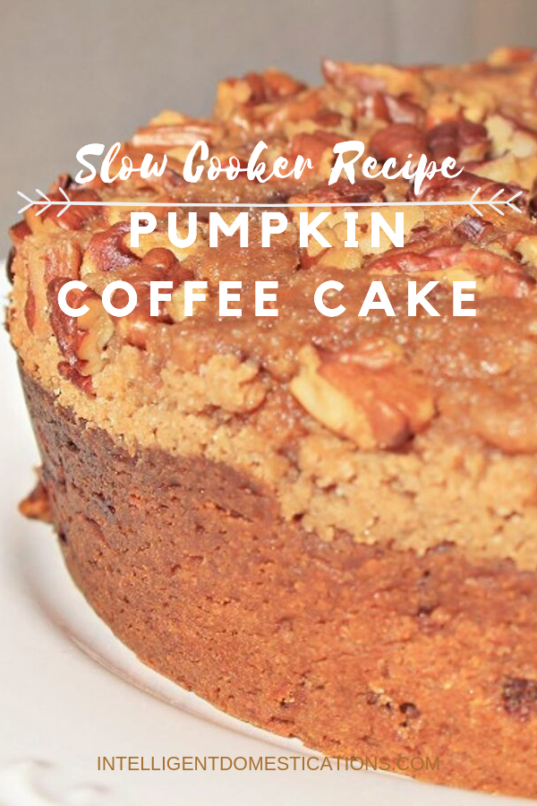 This moist and delicious Pumpkin Coffee Cake will not take hours in the kitchen to bake. It's ready in about an hour and made in the Crockpot. A delicious Fall dessert for Pumpkin lovers. Topped with a Pecan Streusal topping.