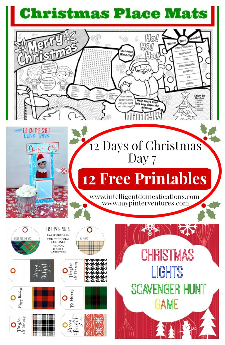 12 Days of Christmas Day 7. 12 Free Printables