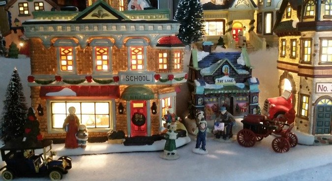 Christmas Village School close up.intelligentdomestications.com