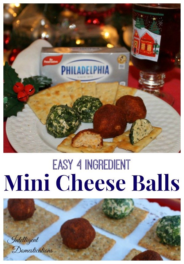 Mini Cheese Ball Recipe with only 4 ingredients. Party appetizer. Let everyone have their own cheese ball! #appetizer #partyfood