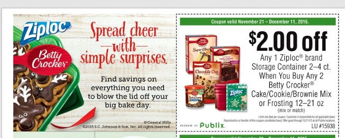 Ziploc. Publix and Betty Crocker spreadthecheer 675x271