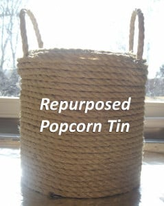 Repurposed popcorn tin sisal rope container. 8 Clever Ways to Upcycle Popcorn Tins. Don't toss that Popcorn tin from Christmas. Make something fun with it! #upcycle #popcorntin