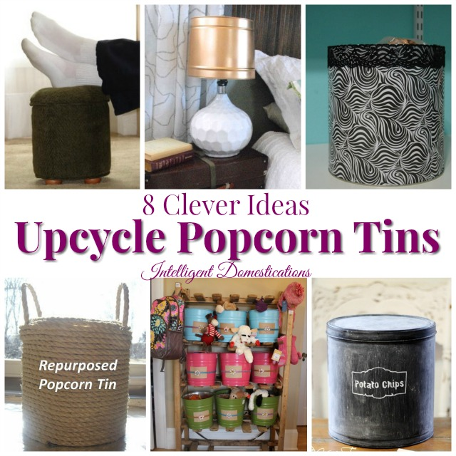 8 Clever Ways to Upcycle Popcorn Tins. Don't toss that Popcorn tin from Christmas. Make something fun with it! #upcycle #popcorntin