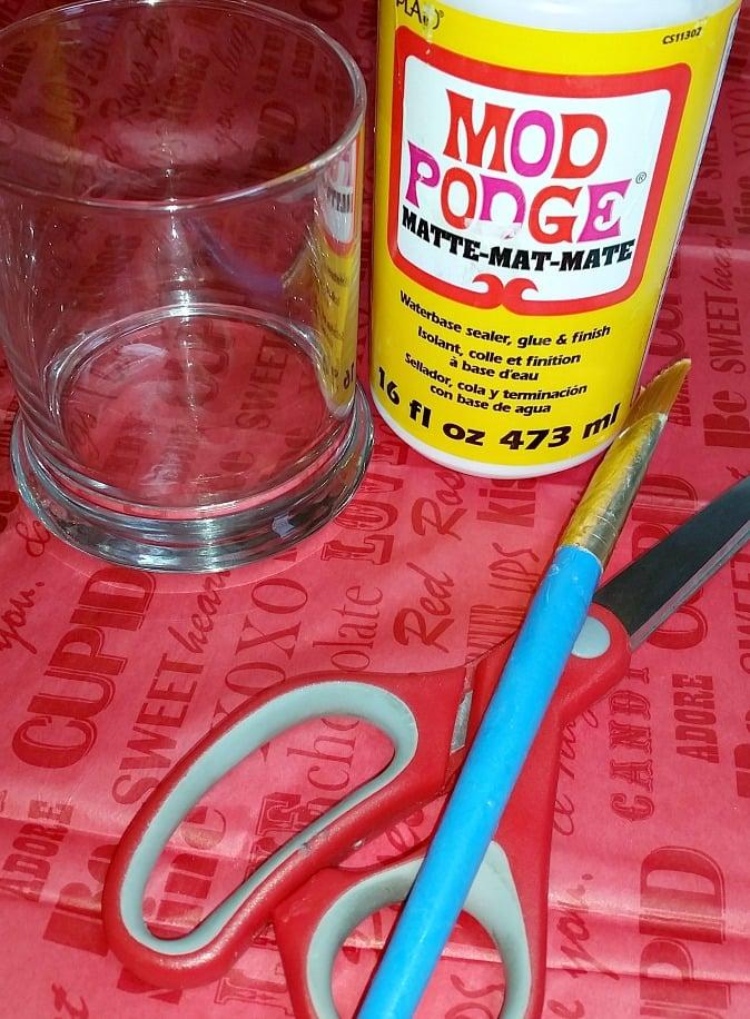 Valentine Candy Jar Craft supplies