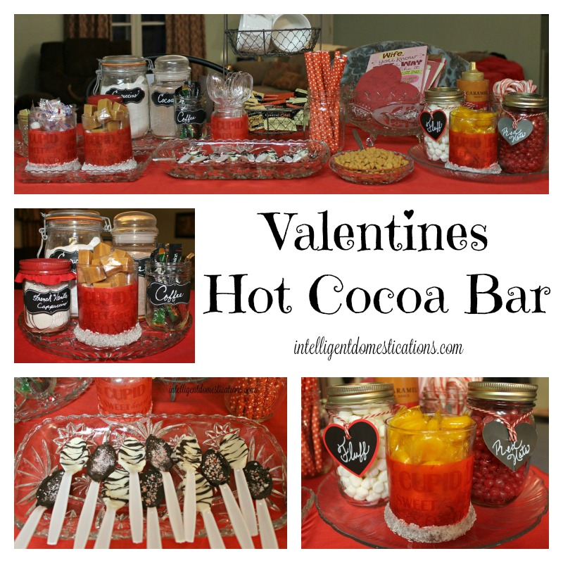 Share coffee and conversation with friends and family this Valentine season by setting up a fun Valentine's Hot Cocoa Bar. Ideas include candies, hot beverage flavors and chocolate spoons. #Valentines #hotcocoabar