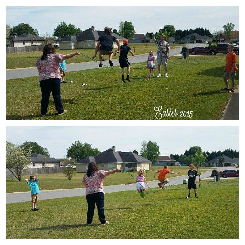 Easter 2015.Jumping rope in the front yard